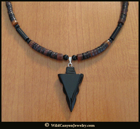 Black obsidian arrowhead pendant necklace wildcanyonjewelry aloadofball Image collections
