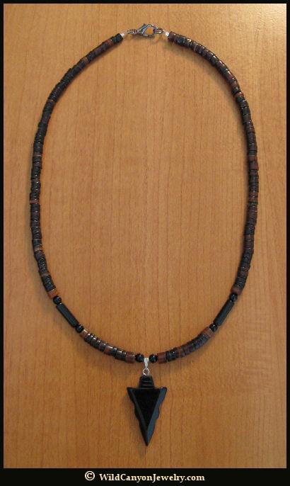 Black Obsidian Arrowhead Pendant Necklace ...